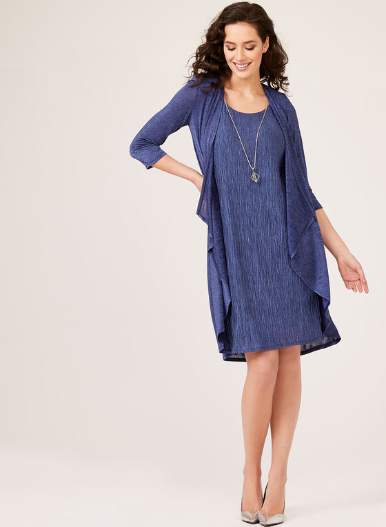 Crinkle Knit Dress with Cardigan, Blue, hi-res