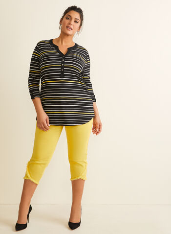 Stripe Print Elbow Sleeve Top, Black,  spring summer 2020, jersey fabric, 3/4 sleeves, stripe print