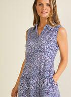 Abstract Print Shirt Dress, Blue