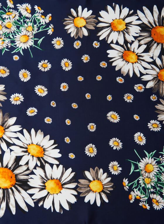 Daisy Print Square Scarf, Blue