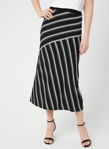 Stripe Print Midi Skirt, Black, hi-res