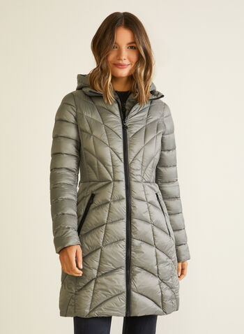Bernardo - EcoPlume™ Mid Length Coat, Silver,  coat, quilted, hood, vest, pockets, ecoplume, down, fall winter 2020