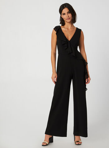 Ruffle Detail Crepe Jumpsuit, Black,  jumpsuit, crepe, ruffle, chiffon, wide leg, sleeveless