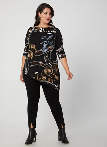 Mixed Print Blouse, Black,  canada, 3/4 sleeves, blouse, top, print top, print blouse, animal print, floral print, geo print, print, flower print, asymmetrical top, fall 2019, winter 2019