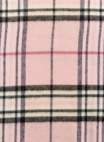 Plaid Fringe Scarf, Pink, hi-res