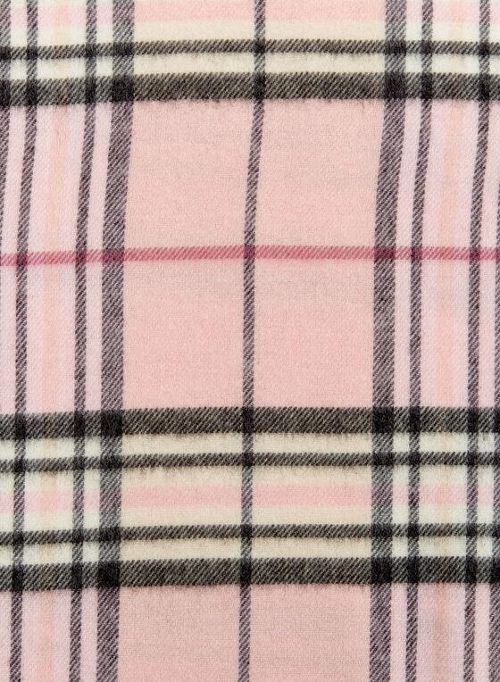Plaid Fringe Scarf, Pink, hi-res