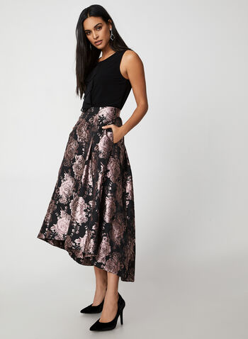 Floral Brocade Skirt, Black,  skirt, floral print, brocade, floral brocade, metallic, long skirt, high-low, holiday, fall 2019, winter 2019