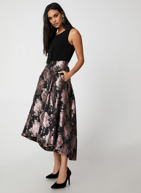 Floral Brocade Skirt, Black