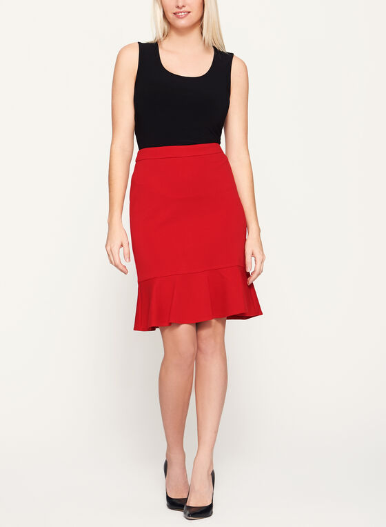 Short Trumpet Skirt, Red, hi-res