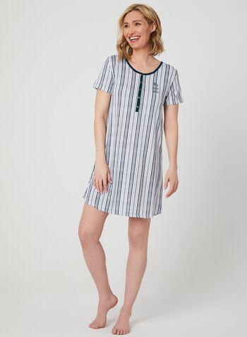Claudel Lingerie - Chemise de nuit à imprimé marin, Blanc,  motif, imprimé, manches courtes