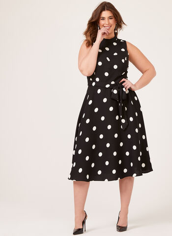 Polka Dot Fit & Flare Dress, Black, hi-res