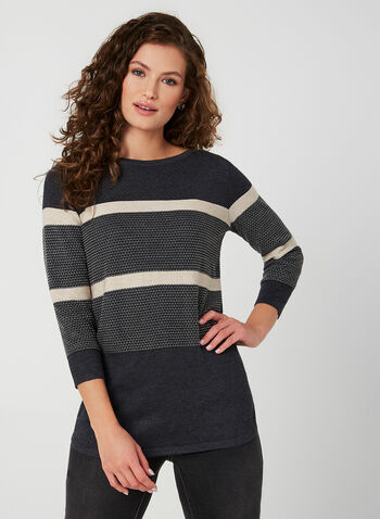 Printed Knit Sweater, Grey,  fall winter 2019, knit, 3/4 sleeves, stripe print
