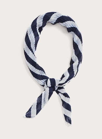 Pleated Bold Stripe Print Neckerchief, Blue, hi-res