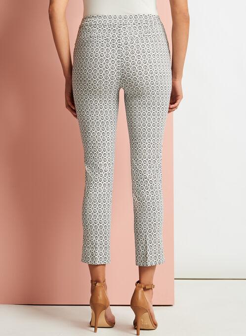 Pantalon à jambe étroite à motif géométrique, Blanc, hi-res
