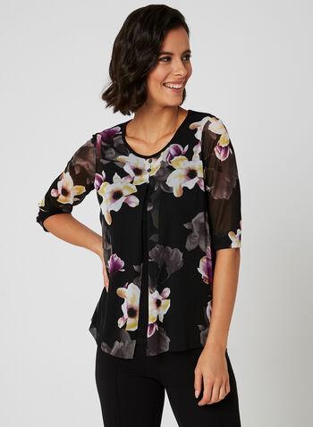 Floral Print Mesh Top, Black, hi-res
