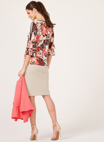 Floral Print Cold Shoulder Blouse, Orange, hi-res