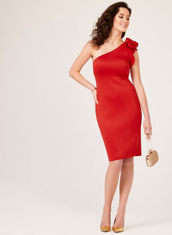One Shoulder Scuba Dress, Red, hi-res