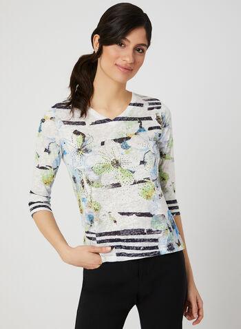 Printed ¾ Sleeve Burnout T-Shirt, Blue, hi-res