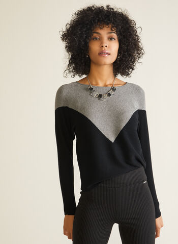 2-Tone Dolman Sleeve Sweater, Grey,  sweater, dolman, contrast, two tone, boat neck, fall winter 2020