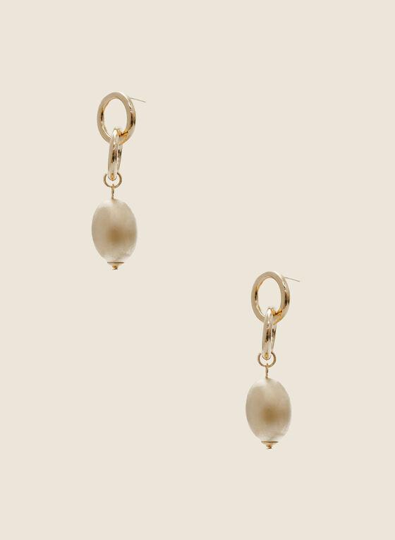 Oval Bead Pendant Earrings, Gold