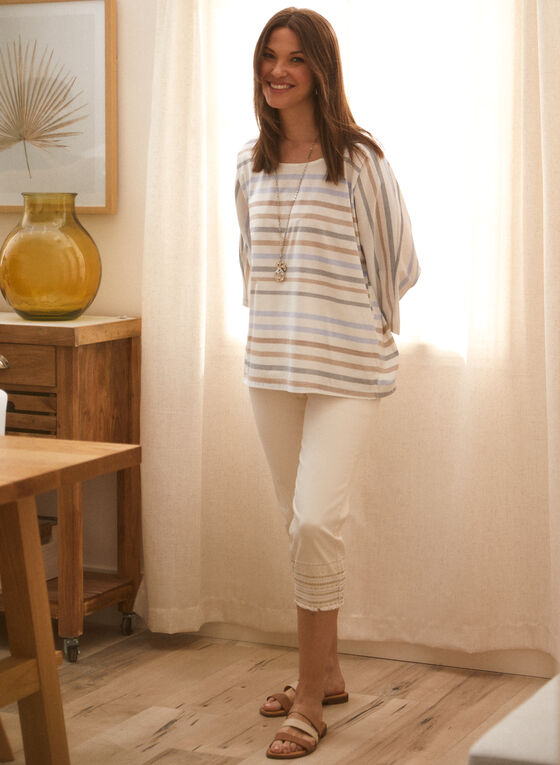 Charlie B - Stripe Print Blouse, White