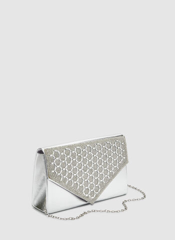 Metallic Envelope Clutch, Silver,  crystals, evening, flapover, fall 2019, winter 2019