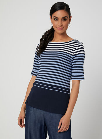 Stripe Print Elbow Sleeve Top, Blue, hi-res,  top, elbow sleeves, stripe print, spring 2019