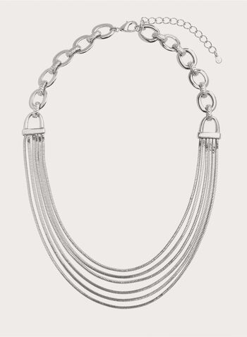 Multistrand Chain Bib Necklace, Silver, hi-res