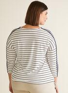 T-shirt à manches ¾ et liens, Blanc
