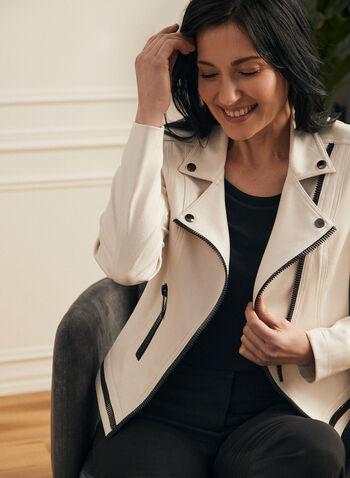 Vex - Veste à zips contrastants, Blanc cassé,  printemps été 2021, veste, Vex, contrastant, manches longues, aspect cuir, faux cuir, zip