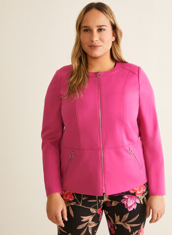Ponte de Roma Jacket, Purple,  spring summer 2020, ponte de roma, long sleeves, zipper front