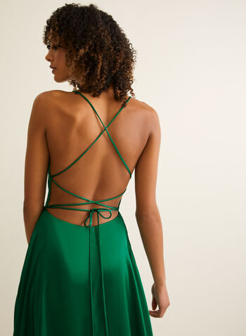 A-Line Satin Dress, Green,  prom dress, satin, sleeveless, spaghetti strap, full length, train, pockets, crossover back, a line, high slit, scoop neck, spring summer 2020