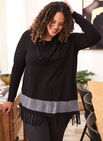 Asymmetric Fringe Detail Sweater, Black,  sweater, long sleeves, cowl neck, scoop neck, contrast, asymmetric, fringe, knit, fall winter 2020