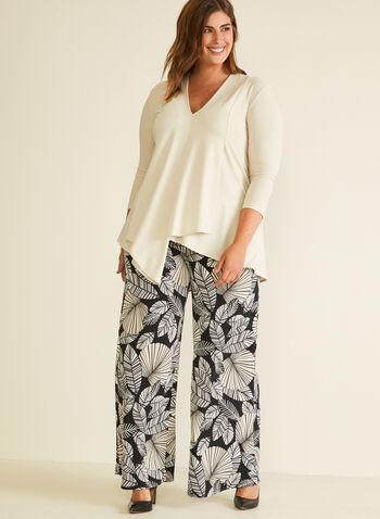 Joseph Ribkoff - Pantalon à motif feuilles, Noir,  pantalon, pull-on, jersey, jambe large, feuille, printemps été 2020