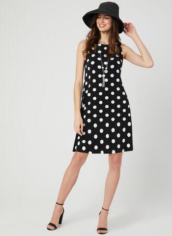 Polka Dot Print Sleeveless Dress, Black, hi-res