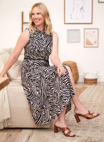 Zebra Print Shirt Dress, Black,  spring summer 2021, dress, day dress, sundress, zebra print, animal print, shirt dress, shirt collar, sleeveless, button front, button down, belted, tie detail, braided belt, midi, crepe
