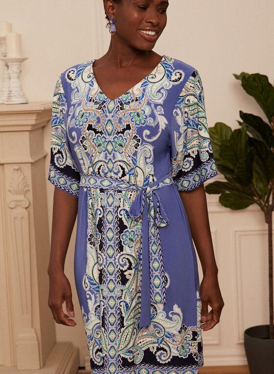 Sandra Darren - Paisley Print Kimono Dress, Blue