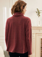 Cowl Neck Sweater Knit Top, Red