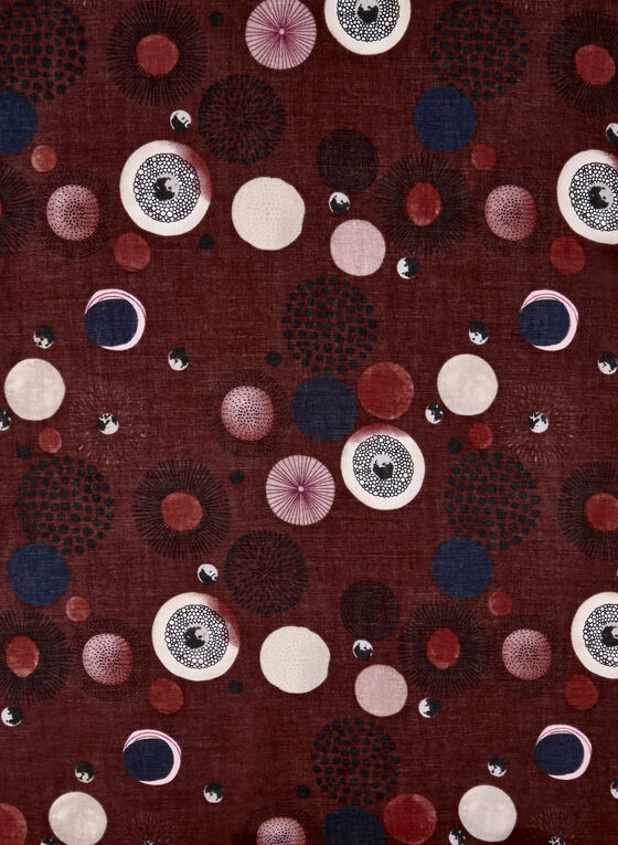 Circle Print Scarf, Red, hi-res