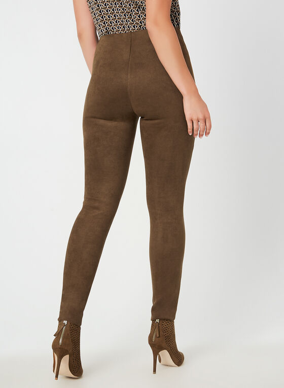 Faux Suede Slim Leg Pants, Brown
