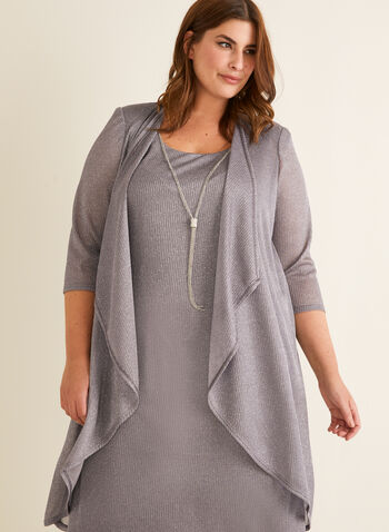 Metallic Dress & Cardigan Set, Silver,  cocktail dress, cardigan, set, metallic fibres, open front, cascade, shoulder pads, scoop neck, sleeveless, necklace, chain, spring summer 2020