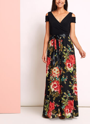 Floral Chiffon Cold Shoulder Dress, , hi-res