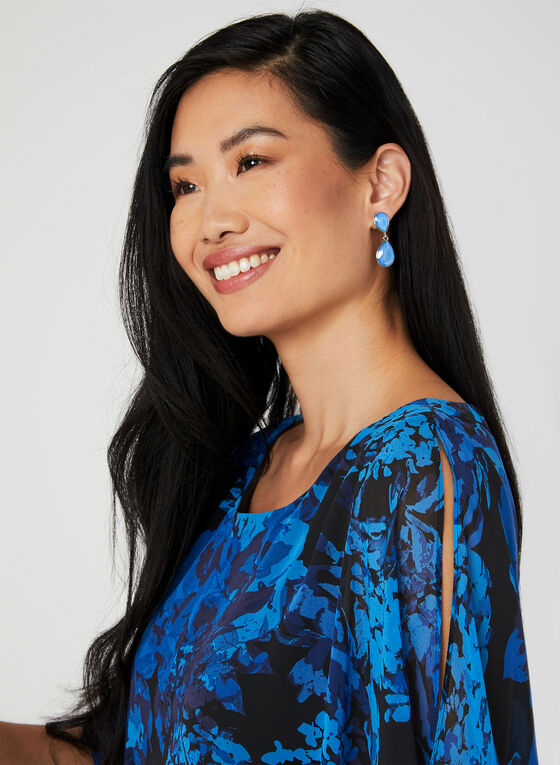 Floral Print Poncho Dress, Blue, hi-res