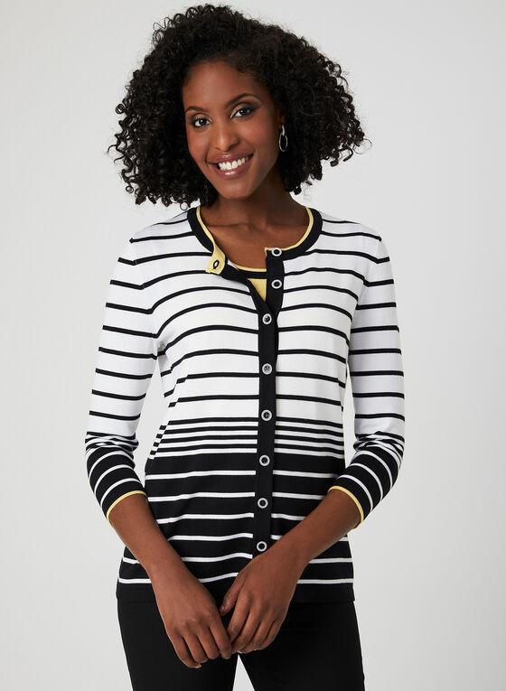 Stripe Print Cardigan, Black, hi-res