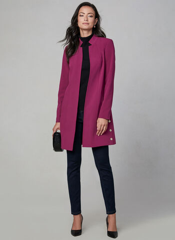 Fuchsia Frenzy, , hi-res,  Joseph ribkoff, wrap dress, long sleeves, jersey, stretchy, pleating, day dress, fall 2019, winter 2019