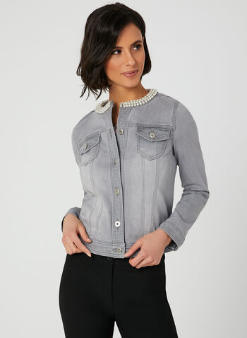 Pearl Detail Denim Jacket, Grey, hi-res
