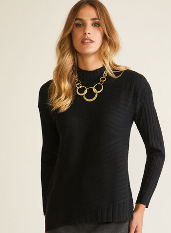 Wool Blend Mock Neck Sweater, Black,  sweater, mock neck, long sleeves, knit, high low, fall winter 2020