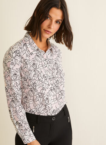 Floral Print Button-Down Blouse, Multi,  spring 2020, summer 2020, blouse, floral print, button down, print blouse, long sleeves
