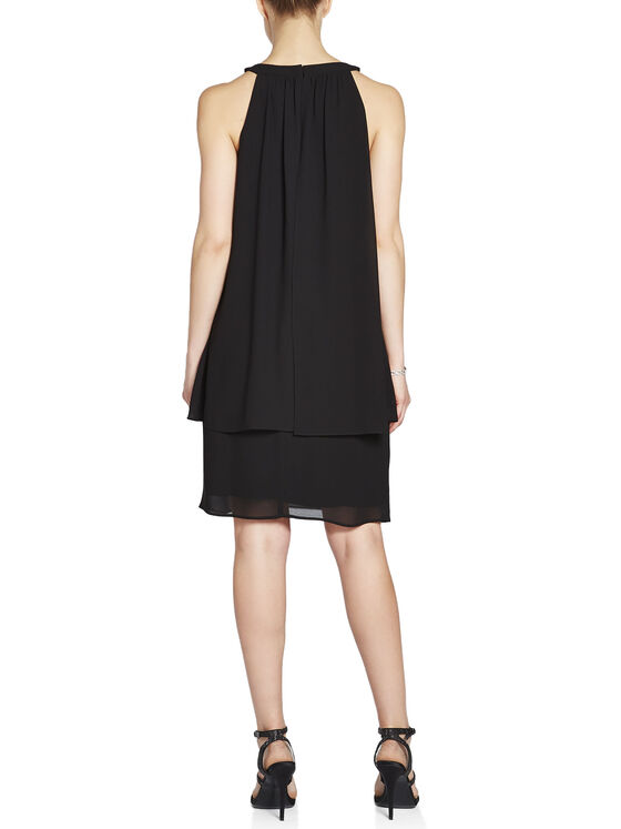 Cleo Neck Stone Detail Popover Dress, Black, hi-res