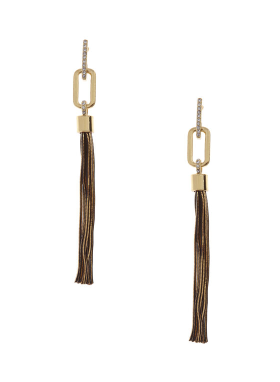 Tassel Drop Earrings , Gold, hi-res